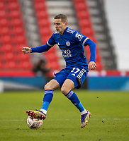 9th January 2021; Bet365 Stadium, Stoke, Staffordshire, England; English FA Cup Football, Carabao Cup, Stoke City versus Leicester City; Timothy Castagne of Leicester City controls a loose ball