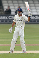 Alastair Cook of Essex celebrates scoring a half century, 50 runs - Essex CCC vs Glamorgan CCC - LV County Championship Division Two Cricket at the Ford County Ground, Chelmsford - 29/04/11 - MANDATORY CREDIT: Gavin Ellis/TGSPHOTO - Self billing applies where appropriate - Tel: 0845 094 6026