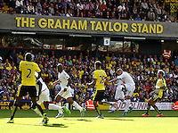 Jonjo Shelvey of Swansea shoots at the goal     during the Barclays Premier League match Watford and Swansea   played at Vicarage Road Stadium , Watford