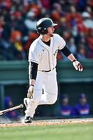 South Carolina designated hitter Alex Destino (24) swings at a pitch during a game against the Clemson Tigers at Fluor Field February 28, 2015 in Greenville, South Carolina. The Gamecocks defeated the Tigers 4-1. (Tony Farlow/Four Seam Images)