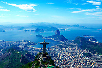 Panoramic view of Rio de Janeiro with the Christ Redeemer, Corcovado Mountain,<br /> the Sugar Loaf, Guanabara Bay, Copacabana Beach, and lagoon, Brazil