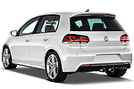Rear three quarter view of 2011 Volkswagen Golf R 5 Door Hatchback Stock Photo