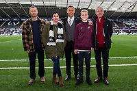 Lee Trundle of Swansea City with mascots during the Sky Bet Championship match between Swansea City and Hull City at the Liberty Stadium in Swansea, Wales, UK. Saturday 27 April 2019