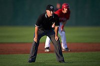 Umpire Vince Jackson during a game between the State College Spikes and Auburn Doubledays on July 6, 2015 at Falcon Park in Auburn, New York.  State College defeated Auburn 9-7.  (Mike Janes/Four Seam Images)