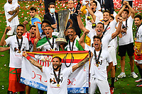 21st August 2020, Rheinenergiestadion, Cologne, Germany; Europa League Cup final Sevilla versus Inter Milan;  Players of Sevilla FC celebrate with the UEFA Europa League Trophy following victory in the UEFA Europa League Finalmany.