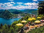 Schweiz, Tessin, Lugano: Blick vom Monte Bre, dem Luganer Hausberg, auf Monte San Salvatore und den Luganer See | Switzerland, Ticino, Lugano: view from Monte Bre, Lugano's Hausberg at Monte San Salvatore and Lago Lugano