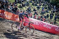 Michael Vanthourenhout (BEL/Pauwels Sauzen - Bingoal) in the infamous Zonhoven 'Pit'<br /> <br /> Elite Women's Race<br /> 2021 UCI cyclo-cross World Cup - Zonhoven (BEL)<br /> <br /> ©kramon