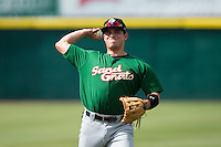 Eudor Garcia (28) of the Savannah Sand Gnats warms up in the outfield prior to the game against the Hickory Crawdads at L.P. Frans Stadium on June 14, 2015 in Hickory, North Carolina.  The Crawdads defeated the Sand Gnats 8-1.  (Brian Westerholt/Four Seam Images)