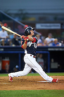 Reading Fightin Phils catcher Andrew Knapp (10) at bat during a game against the New Britain Rock Cats on August 7, 2015 at FirstEnergy Stadium in Reading, Pennsylvania.  Reading defeated New Britain 4-3 in ten innings.  (Mike Janes/Four Seam Images)