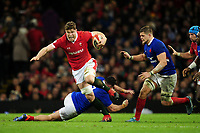 Will Rowlands of Wales evades the tackle of Jean-Baptiste Gros of France during the Guinness Six Nations Championship Round 3 match between Wales and France at the Principality Stadium in Cardiff, Wales, UK. Saturday 22 February 2020
