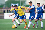 Montrose v St Johnstone….16.07.19      Links Park     Betfred Cup       <br />Michael O'Halloran is brought down by Paddy Cregg and Lewis Milne<br />Picture by Graeme Hart. <br />Copyright Perthshire Picture Agency<br />Tel: 01738 623350  Mobile: 07990 594431