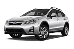 Stock pictures of low aggressive front three quarter view of a 2017 Subaru XV Premium 5 Door SUV