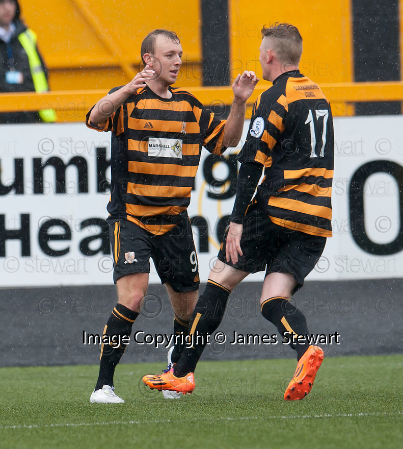 """Alloa""""s Greig Spence (9) celebrates with Michael Doyle after he scores their first goal."""