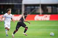 LAKE BUENA VISTA, FL - JULY 22: Omir Fernandez #21 of the New York Red Bulls dribbles the ball during a game between New York Red Bulls and FC Cincinnati at Wide World of Sports on July 22, 2020 in Lake Buena Vista, Florida.