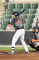 Adam Engel (23) of the Kannapolis Intimidators at bat against the Asheville Tourists at CMC-NorthEast Stadium on July 12, 2014 in Kannapolis, North Carolina.  The Tourists defeated the Intimidators 7-5 in 15 innings.  (Brian Westerholt/Four Seam Images)