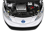 High angle engine detail of a Car stock 2021 Nissan e-NV200 Business 4 Door Cargo Van engine high angle detail view