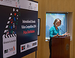 11 Feburary 2015, New Delhi, India: Angela French of Cambridge English introduces the winners of the India International Video Competition run by Austrade in conjunction with Cambridge English and major sponsors Singapore Airlines presented at the Australian High Commission, New Delhi.  Picture by Graham Crouch/Austrade