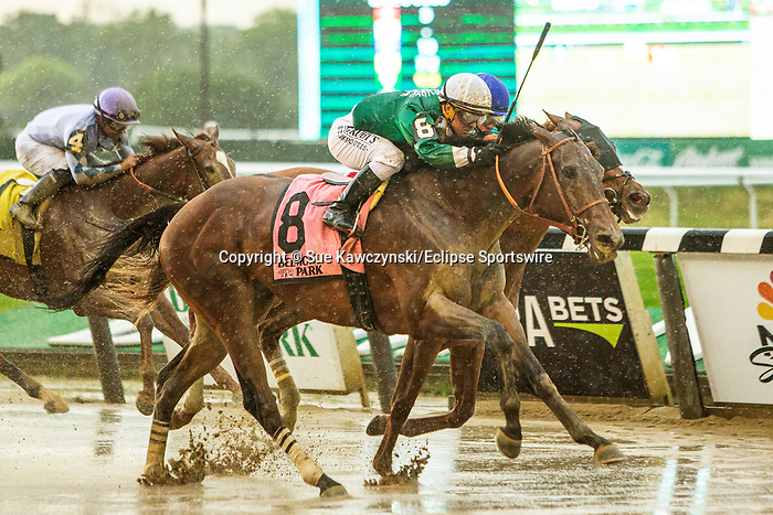 JUNE 04, 2021 : Estilo Talentoso with Javier Catellano aboard, wins the Gr.3  Bed O' Roses Stakes, for fillies nd mares at 7 furlongs, at Belmont Park, Elmont, NY. Sue Kawczynski-Eclipse Sportswire-CSM