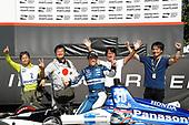 Winner Takuma Sato, Rahal Letterman Lanigan Racing Honda celebrates in Victory Lane with Japanese Media members