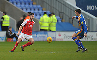 Fleetwood Town's Lewie Coyle under pressure from Shrewsbury Town's Oliver Norburn<br /> <br /> Photographer Kevin Barnes/CameraSport<br /> <br /> The EFL Sky Bet League One - Shrewsbury Town v Fleetwood Town - Tuesday 1st January 2019 - New Meadow - Shrewsbury<br /> <br /> World Copyright © 2019 CameraSport. All rights reserved. 43 Linden Ave. Countesthorpe. Leicester. England. LE8 5PG - Tel: +44 (0) 116 277 4147 - admin@camerasport.com - www.camerasport.com