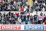 West Ham fans celebrate the equaliser scored by  Saïd Benrahma. Newcastle v West Ham, August 15th 2021. The first game of the season, and the first time fans were allowed into St James Park since the Coronavirus pandemic. 50,673 people watched West Ham come from behind twice to secure a 2-4 win.