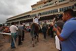 March 29, 2014: Jockey Javier Castellano and Constitution head to the winners circle after winning the Florida Derby(G1). Gulfstream Park in Hallandale Beach (FL). Arron Haggart/ESW/CSM