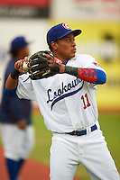 Chattanooga Lookouts shortstop Jorge Polanco (11) during warmups before a game against the Jacksonville Suns on April 30, 2015 at AT&T Field in Chattanooga, Tennessee.  Jacksonville defeated Chattanooga 6-4.  (Mike Janes/Four Seam Images)
