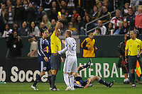 Los Angeles Galaxy's David Beckham gets a yellow card during game against the New York Red Bulls at the Home Depot Center in Carson, Ca on Saturday, May 10, 2008. N.Y 2, L.A. 1.