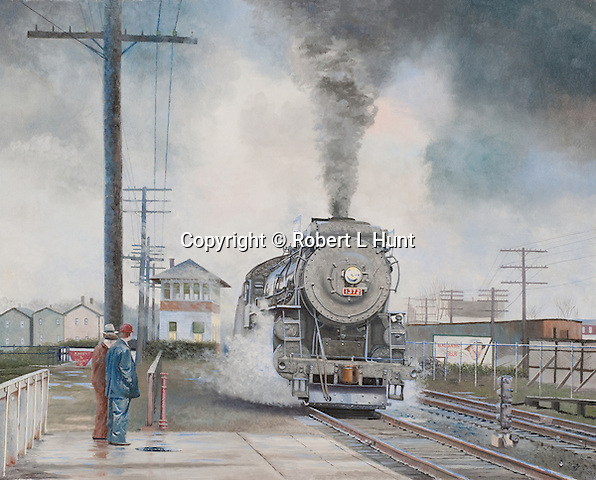 """Last steam locomotive train on the New Haven Railroad going through the station platform at Putnam, CT, in 1952. Oil on canvas, 19"""" x 24""""."""
