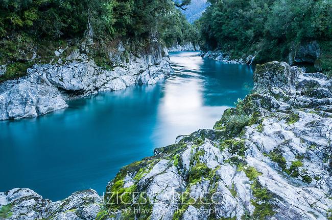 Dark blue colours of Hokitika River in famous Hokitika Gorge, South Westland, West Coast, New Zealand