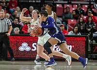 COLLEGE PARK, MD - JANUARY 26: Veronica Burton #12 of Northwestern moves past Taylor Mikesell #11 of Maryland during a game between Northwestern and Maryland at Xfinity Center on January 26, 2020 in College Park, Maryland.