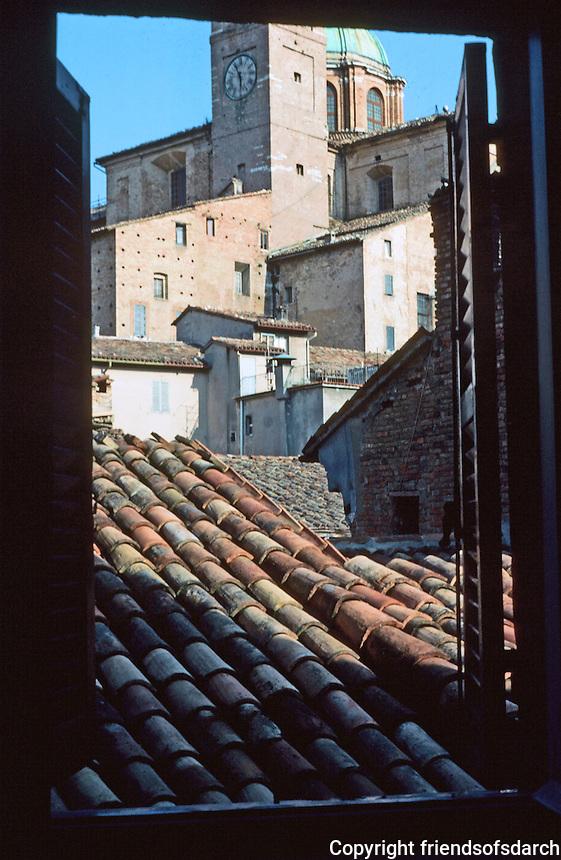 Urbino:  View from hotel window.  Photo '83.