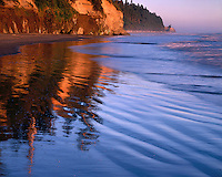 Reflections on the Pacific Ocean at Ruby Beach; Olympic National Park, WA