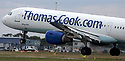 """23/10/19<br /> <br /> File Photo dated 12/07/11 showing a Thomas Cook jet landing at East Midlands Airport.<br /> <br /> Thomas Cook has collapsed after last-minute negotiations aimed at saving the 178-year-old holiday firm failed.<br /> <br /> The UK Civil Aviation Authority (CAA) said the tour operator had """"ceased trading with immediate effect"""".<br /> <br /> It has also triggered the biggest ever peacetime repatriation, aimed at bringing more than 150,000 British holidaymakers home.<br /> <br /> <br /> <br /> All Rights Reserved, F Stop Press Ltd +44 (0)7765 242650 www.fstoppress.com rod@fstoppress.com"""