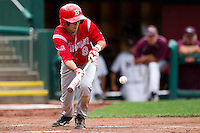 David Compitello (8) of the Bradley Braves lays down a bunt during a game against the Missouri State Bears on May 13, 2011 at Hammons Field in Springfield, Missouri.  Photo By David Welker/Four Seam Images