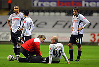 ATTENTION SPORTS PICTURE DESK<br /> Pictured: (L-R) Ashley Williams, Leon Britton, David Cotterill and Federico Bessone of Swansea City <br /> Re: Coca Cola Championship, Swansea City Football Club v Plymouth Argyle at the Liberty Stadium, Swansea, south Wales. Tuesday 08 December 2009