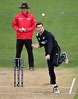 20th March 2021; Dunedin, New Zealand;  Mitchell Santner bowls during the New Zealand Black Caps v Bangladesh International one day cricket match. University Oval, Dunedin.