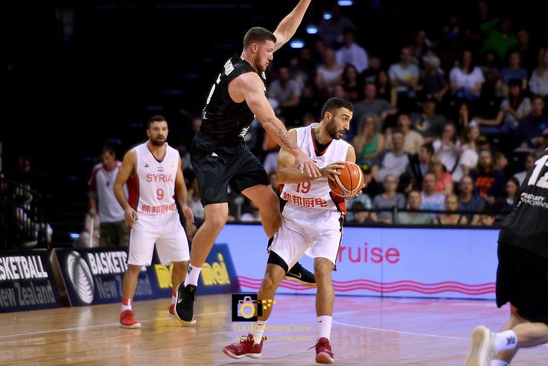 Syria's Ziab Alshawakh and New Zealand Tall Blacks' Tom Vodanovich in action during the FIBA World Cup Basketball Qualifier - NZ Tall Blacks v Syria at TSB Bank Arena, Wellington, New Zealand on Sunday 2 2018. <br /> Photo by Masanori Udagawa. <br /> www.photowellington.photoshelter.com