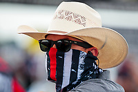 Jul 19, 2020; Clermont, Indiana, USA; NHRA top fuel driver Steve Torrence wears a face mask covering during the Summernationals at Lucas Oil Raceway. Mandatory Credit: Mark J. Rebilas-USA TODAY Sports