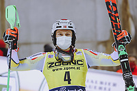 22nd December 2020, Madonna di Campiglio, Italy; FIS Mens slalom world cup race;   Winner Henrik Kristoffersen of Norway reacts after his 2nd run of mens Slalom