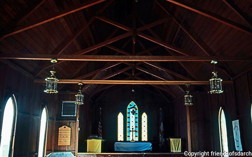 St. Luke's Episcopal--Interior.  Jolon CA.  Photo '85.