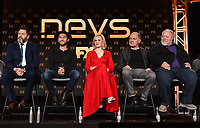 """PASADENA, CA - JANUARY 9: (L-R) Cast members Nick Offerman, Jin Ha, Alison Pill, Zach Grenier, and Stephen McKinley Henderson attend the panel for """"Devs"""" during the FX Networks presentation at the 2020 TCA Winter Press Tour at the Langham Huntington on January 9, 2020 in Pasadena, California. (Photo by Frank Micelotta/FX Networks/PictureGroup)"""