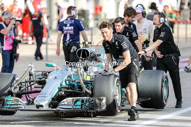 Mercedes car (44) of Great Britain after qualifying for this weekends Formula 1 United States Grand Prix race at the Circuit of the Americas race track in Austin,Texas.