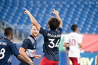 FOXBOROUGH, MA - JUNE 26: Ryan Spaulding #34 of the New England Revolution celebrates his goal during a game between North Texas SC and New England Revolution II at Gillette Stadium on June 26, 2021 in Foxborough, Massachusetts.