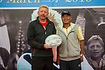 Tennis legend Boris Becker (left) receives and gives a gift to Zhao Zhiqiang during the press conference for the opening of Boris Becker Tennis Academy at Mission Hills Resort on 19 March 2016, in Shenzhen, China. Photo by Lucas Schifres / Power Sport Images
