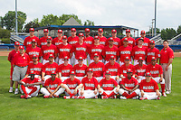 Batavia Muckdogs team photo before a game against the State College Spikes at Dwyer Stadium on July 7, 2011 in Batavia, New York.  Front Row:  Jose Almarante, Virgil Hill, Corey Baker, Jonathan Cornelius, Casey Rasmus, Roberto Reyes, Nick Martini;  Second Row:  Tony Pecora - Clubhouse Manager, Kevin Moscatel, Romulo Ruiz, Mike O'Neill, Ace Adams - Pitching Coach, Dann Bilardello - Manager, Roger LaFrancois - Hitting Coach, Juan Castillo, Yunier Castillo, Hector Hernandez;  Third Row:  Jake Roy, Ricky Martinez, Patrick Daugherty,  Eric Binder, Sean Watson, Kevin Jacob, David Medina, Javier Avendano, Adam Bileckyj, Daniel Miranda, Mike Petrarca;  Fourth Row:  Travis Miller, Todd McInnis, Seth Maness, Drew Benes, Cesar Valera, Daniel Stienstra, Joey Bergman, Garrett Wittels, Jeremy Patton.  (Mike Janes/Four Seam Images)  EDITORS NOTE:  Photo Illustration - eyes replaced on three players from blinking, original version also available.
