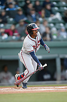 Center fielder Justin Dean (5) of the Rome Braves bats in a game against the Greenville Drive on Saturday, April 20, 2019, at Fluor Field at the West End in Greenville, South Carolina. Rome won, 5-4. (Tom Priddy/Four Seam Images)