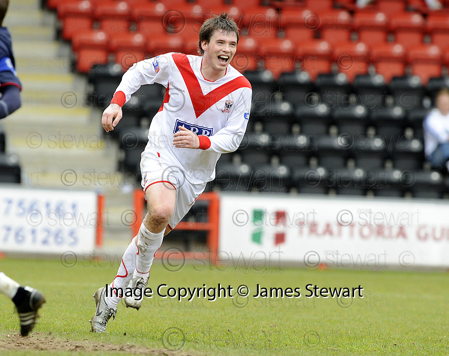 03/05/2008   Copyright Pic: James Stewart.File Name : sct_jspa07_airdrie_v_raith.BOBBY DONNELLY CELEBRATES AFTER HE SCORES AIRDRIE'S SECOND.James Stewart Photo Agency 19 Carronlea Drive, Falkirk. FK2 8DN      Vat Reg No. 607 6932 25.Studio      : +44 (0)1324 611191 .Mobile      : +44 (0)7721 416997.E-mail  :  jim@jspa.co.uk.If you require further information then contact Jim Stewart on any of the numbers above........