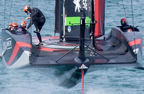 In order to get extra power in light conditions, Team New Zealand are using a double mainsail for the wing effect in their latest AC75.  Sheeting is visible in this photo that shows the crew controlling each skin separately
