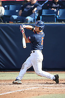 Scott Hurst #6 of the Cal State Fullerton Titans bats against the Stanford Cardinal at Goodwin Field on February 19, 2017 in Fullerton, California. Stanford defeated Cal State Fullerton, 8-7. (Larry Goren/Four Seam Images)